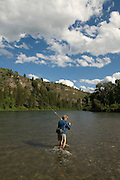 """Fly fishing in the """"canyon section"""" of the South Fork of the Snake River, Idaho"""