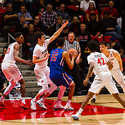 27 February 2018: San Diego State men's basketball hosts Boise State in it's last meet up of the regular season at Viejas Arena. San Diego State Aztecs guard Jordan Schakel (20) defends Boise State Broncos guard Chandler Hutchison (15) in the first half. The Aztecs lead 38-37 at halftime. <br /> More game action at sdsuaztecphotos.com