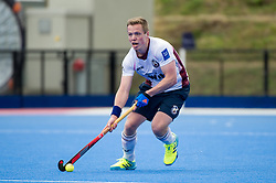 Wimbledon's Ian Sloan. Wimbledon v Hampstead & Westminster - Semi-Final - Men's Hockey League Finals, Lee Valley Hockey & Tennis Centre, London, UK on 22 April 2017. Photo: Simon Parker