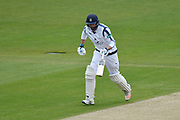 James Vince of Hampshire running between the wickets during the Specsavers County Champ Div 1 match between Hampshire County Cricket Club and Yorkshire County Cricket Club at the Ageas Bowl, Southampton, United Kingdom on 21 April 2017. Photo by Graham Hunt.
