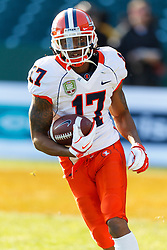 Dec 31, 2011; San Francisco CA, USA; Illinois Fighting Illini wide receiver Fred Sykes (17) warms up before the game against the UCLA Bruins at AT&T Park. Illinois defeated UCLA 20-14. Mandatory Credit: Jason O. Watson-US PRESSWIRE