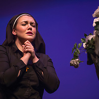 080114      Cayla Nimmo<br /> <br /> Mary Hollis-Hundley, soprano with the Land of Enchantment Opera, performs the role Sister Angelica in Suor Angelica at the El Morro Theater in downtown Gallup Friday evening. The Land of Enchantment Opera finished their season with two performances of two one act operas on Friday and Saturday.