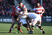 Wasps wing Christian Wade tackled during the Aviva Premiership match between Gloucester Rugby and Wasps at the Kingsholm Stadium, Gloucester, United Kingdom on 24 February 2018. Picture by Alan Franklin.