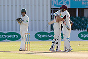 100 - Rob Keogh is congratulated by Adam Rossington  on reaching 100  during the Specsavers County Champ Div 2 match between Leicestershire County Cricket Club and Northamptonshire County Cricket Club at the Fischer County Ground, Grace Road, Leicester, United Kingdom on 11 September 2019.