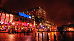 Exterior of Birmingham Repertory Theatre in Centenary Square by night.<br /> <br /> (c) Andrew Wilson | Edinburgh Elite media