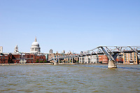Millennium Bridge, River Thames and St Paul's Cathedral during the day