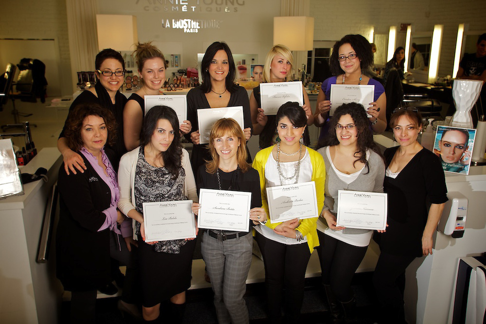 Students of Annie Young Cosmetics makeup course enter their final day of class before celebrating graduation. The student artists applied what they had learned during the program to model subjects. Their work was evaluated by Annie Young Cosmetics teachers.