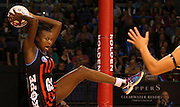 Mwai Kumwenda of the Tactix gathers the ball during the ANZ Championship Netball game between the Tactix v Steel at Horncastle Arena in Christchurch. 6th April 2015 Photo: Joseph Johnson/www.photosport.co.nz