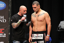 Las Vegas, NV - December 28, 2012:  Cain Velasquez speaks with Joe Rogan after weighing in for his main event bout against Junior Dos Santos at UFC 155 at MGM Grand Garden Arena in Las Vegas, Nevada.