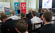 First Lady Anna Komorowska with athletes of Special Olympics attend a meeting in Presidential Palace in Warsaw on February 26, 2013..The mission of Special Olympics is to provide sports training and athletic competition for children and adults with intellectual disabilities...Poland, Warsaw, February 26, 2013..Picture also available in RAW (NEF) or TIFF format on special request...For editorial use only. Any commercial or promotional use requires permission...Photo by © Adam Nurkiewicz / Mediasport