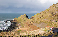 Road leading to The Giants Causeway landmark in Antrim Northern Ireland