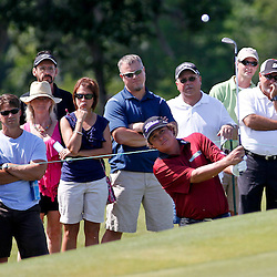 Apr 27, 2012; Avondale, LA, USA; Jason Dufner on the 18th hole during the second round of the Zurich Classic of New Orleans at TPC Louisiana. Mandatory Credit: Derick E. Hingle-US PRESSWIRE