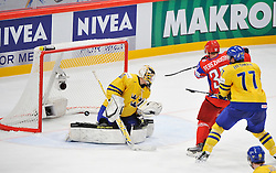 11.05.2012, Ericsson Globe, Stockholm, SWE, IIHF, Eishockey WM, Russland (RUS) vs Schweden (SWE), im Bild, Russia 6 Denis Denisov (SKA St Petersburg) goal // during the IIHF Icehockey World Championship Game between Russia (RUS) and Sweden (SWE) at the Ericsson Globe, Stockholm, Sweden on 2012/05/11. EXPA Pictures © 2012, PhotoCredit: EXPA/ PicAgency Skycam/ Simone Syversson..***** ATTENTION - OUT OF SWE *****