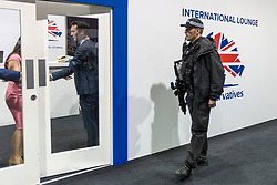 © Licensed to London News Pictures. 01/10/2019. Manchester, UK. Armed Police arrive at the International Lounge at the Conservative Conference today after an alleged incident in the area, the lounge & press room are now on lockdown. Third day of the Conservative Party Conference at Manchester Central in Manchester. Photo credit: Andrew McCaren/LNP
