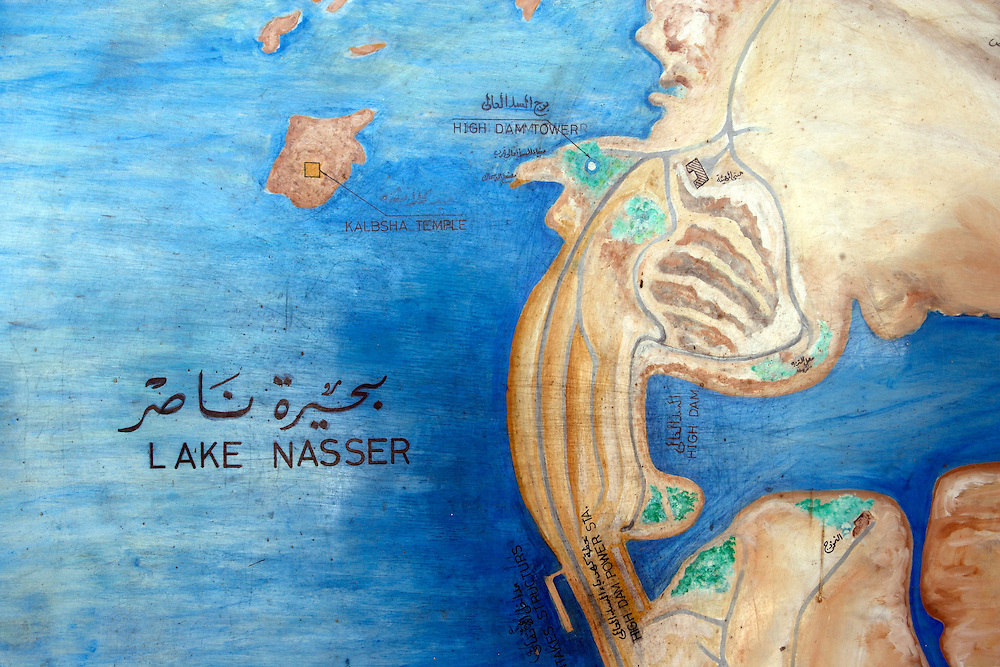 Map at High Dam  Lake Nasser  Aswan, Egypt