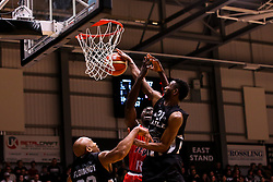 Daniel Edozie of Bristol Flyers is blocked - Photo mandatory by-line: Robbie Stephenson/JMP - 01/03/2019 - BASKETBALL - Eagles Community Arena - Newcastle upon Tyne, England - Newcastle Eagles v Bristol Flyers - British Basketball League Championship