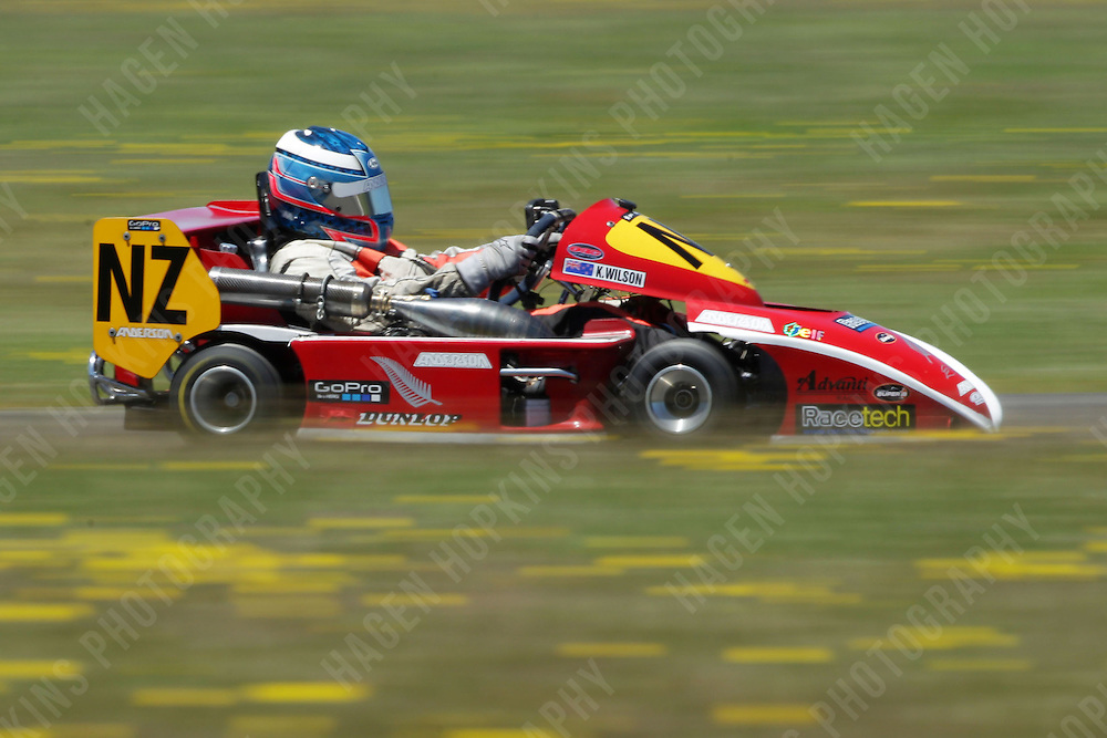 Karl Wilson drives in the International class during the 2013 Superkart National Champs and Grand Prix at Manfeild in Feilding, New Zealand on Saturday, 5 January 2013. Credit: Hagen Hopkins.