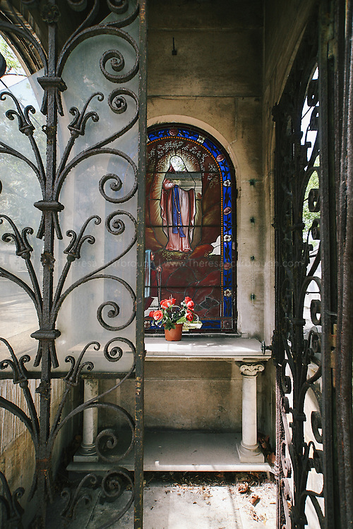 Mausoleum in Pere Lachaise Cemetery, Paris, France