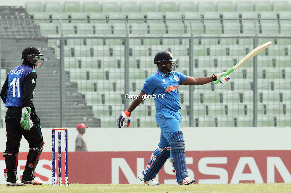 Indian batsman  Sarfaraz khan after 50 against New Zealand at Sher e Bangla national cricket stadium.<br /> New Zealand v India, ICC U19 Cricket World Cup at Mirpur, Bangladesh. 30 January 2016.<br /> <br /> India beat New Zealand by 120 runs.<br /> Photo: &copy;ICC