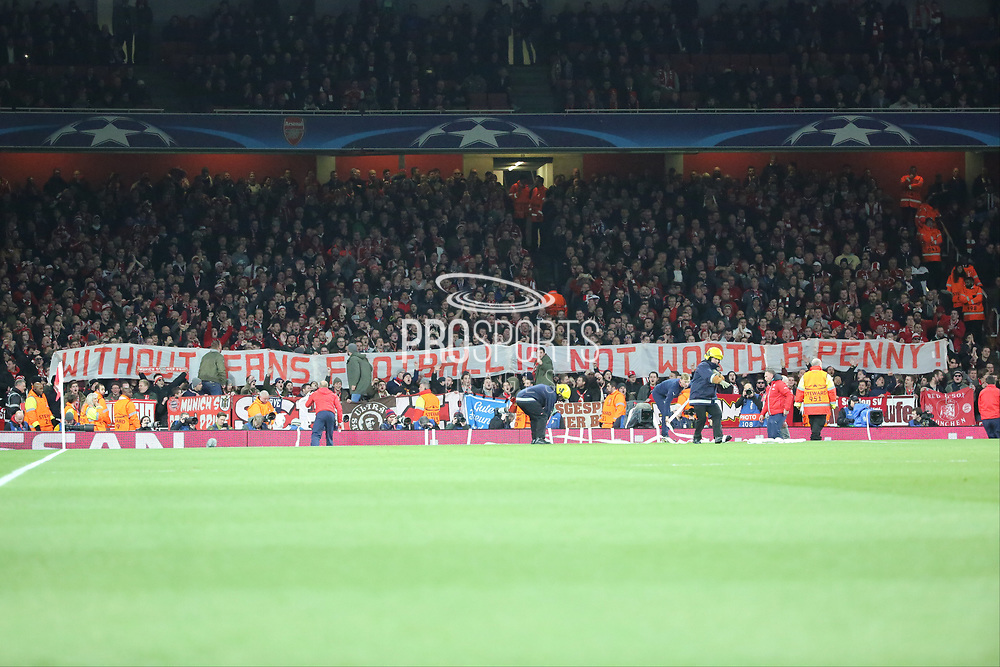 Bayern fans protest sign during the Champions League round of 16, game 2 match between Arsenal and Bayern Munich at the Emirates Stadium, London, England on 7 March 2017. Photo by Matthew Redman.