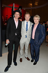 Left to right, JOHN TAYLOR, GARY KEMP and NICK RHODES at the opening of Club To Catwalk: London Fashion In The 1980's an exhibition at The V&A Museum, London on 8th July 2013.