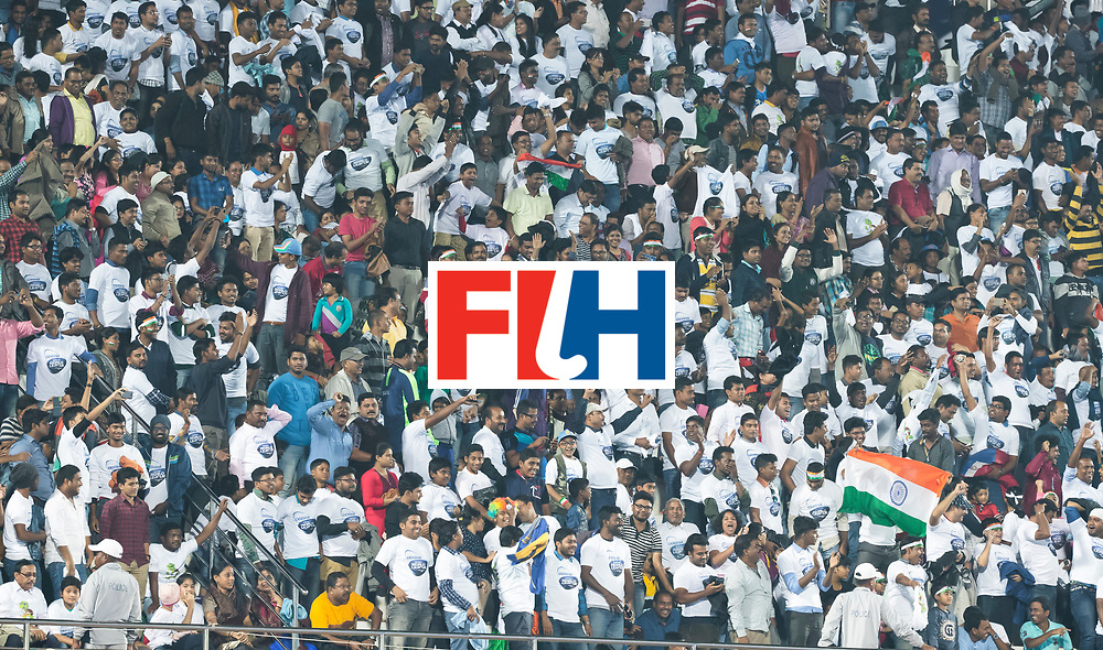 BHUBANESWAR - Stands , public, audience ,Hockey World League finals Match for bronze , Germany v India (1-2). COPYRIGHT KOEN SUYK