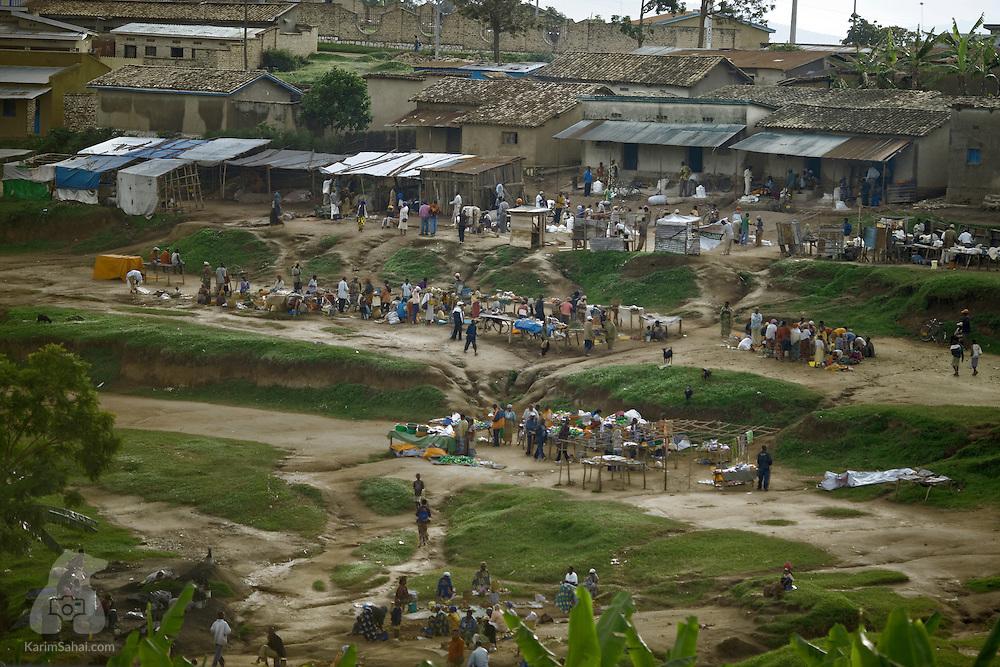 Open air market in Gitisi, Rwanda.