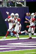Arizona Cardinals strong safety Budda Baker (36) celebrates with Arizona Cardinals defensive back Bene' Benwikere (23) as Baker runs through the end zone after scoring a 36 yard second quarter touchdown on a sack fumble play during the NFL week 6 regular season football game against the Minnesota Vikings on Sunday, Oct. 14, 2018 in Minneapolis. The Vikings won the game 27-17. (©Paul Anthony Spinelli)