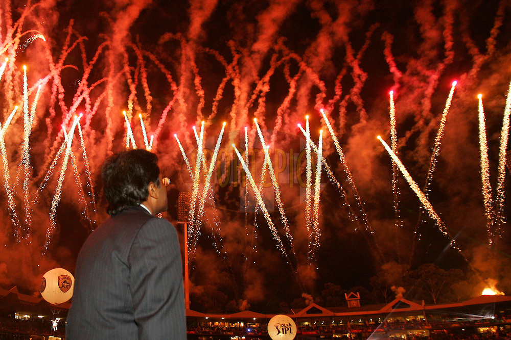 JOHANNESBURG, SOUTH AFRICA - 24 May 2009. Mr lalit Modi enjoys the fireworks during the  IPL Season 2 Final between the Royal Challengers Bangalore and the Deccan Chargers held at The Wanderers Stadium in Johannesburg, South Africa..