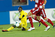 FRISCO, TX - SEPTEMBER 29:  Dominic Oduro #11 of the Columbus Crew crosses the ball against FC Dallas on September 29, 2013 at Toyota Stadium in Frisco, Texas.  (Photo by Cooper Neill/Getty Images) *** Local Caption *** Dominic Oduro