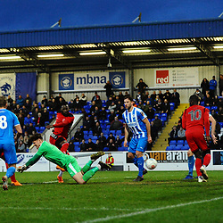 TELFORD COPYRIGHT MIKE SHERIDAN 22/12/2018 - Disallowed goal - Grant Shenton of Chester is fouled before Amari Morgan-Smith of AFC Telford fires home a disallowed equaliser for telford during the Vanarama Conference North fixture between Chester FC and AFC Telford United at the Swansway Deva Stadium, Chester.