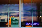 Window at Skybound Aviation Flight School, DeKalb Peachtree Airport (PDK), Atlanta.