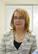 Garden City, New York, USA. April 17, 2016. GABBY GIFFORDS, former United States Congresswoman spoke about the importance of GOTV, Getting Out The Vote for Hillary Clinton - including because of Clinton's strong position on stricter gun control legislation - at the Canvass Kickoff at the Nassau County Democratic Office in Garden City, a campaign Official Event. Giffords survived an assassination attempt near Tuscon, Arizona, during her first 'Congress on Your Corner' event in January 2011.