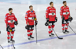 12.04.2018, Tiroler Wasserkraft Arena, Innsbruck, AUT, Eishockey Testspiel, Österreich vs Italien, während dem Eishockey Testspiel Österreich vs Italien am Donnerstag, 12. April 2018 in Innsbruck, im Bild v.l.: Benjamin Nissner (AUT), Markus Schlacher (AUT), Thomas Hundertpfund (AUT) und Erik Kirchschlaeger (AUT) // during the International Icehockey Friendly match between Austria and Italy at the Tiroler Wasserkraft Arena in Innsbruck, Austria on 2018/04/12. EXPA Pictures © 2018, PhotoCredit: EXPA/ Jakob Gruber