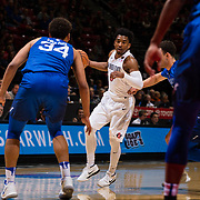 03 February 2018: The San Diego State Aztecs look to rebound after a couple losses against Air Force Saturday night. San Diego State Aztecs guard Devin Watson (0) dribbles the ball around the top of the key during the second half. The Aztecs beat the Falcons 81-50 at Viejas Arena.<br /> More game action at www.sdsuaztecphotos.com