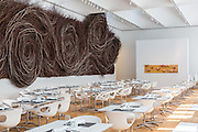 Iris Restaurant inside the North Carolina Museum of Art. Raleigh, NC | Architect: Thomas Phifer and Partners, Artist: Patrick Dougherty