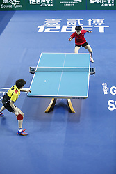February 23, 2018 - London, England, United Kingdom - ITTF Team World Cup match between Ching I CHENG of Chinese Taipei and Song I KIM of DPR Korea, Quarter Finals Women singles match on February 23, 2018 in Copper Box Arena, Olympic Park, London. (Credit Image: © Dominika Zarzycka/NurPhoto via ZUMA Press)