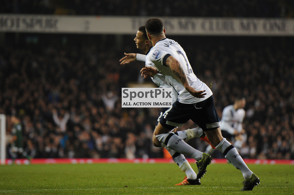 Tottenhams Dele Alli celebrates scoring Tottenhams second goal during the Tottenham v Aston Villa match in the Barclays Premier League on the 2nd November 2015
