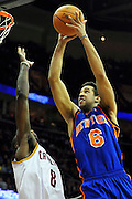 Feb. 25, 2011; Cleveland, OH, USA; New York Knicks guard Landry Fields (6) drives to the basket over Cleveland Cavaliers guard Christian Eyenga (8) during the third quarter against the New York Knicks at Quicken Loans Arena. Mandatory Credit: Jason Miller-US PRESSWIRE