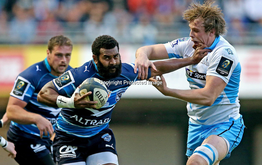 European Rugby Champions Cup Round 2, Altrad Stadium, Montpellier, France 25/10/2014<br /> Montpellier vs Glasgow Warriors <br /> Montpellier's Timoci Nagusa and Jonny Gray of Glasgow<br /> Mandatory Credit &copy;INPHO/James Crombie
