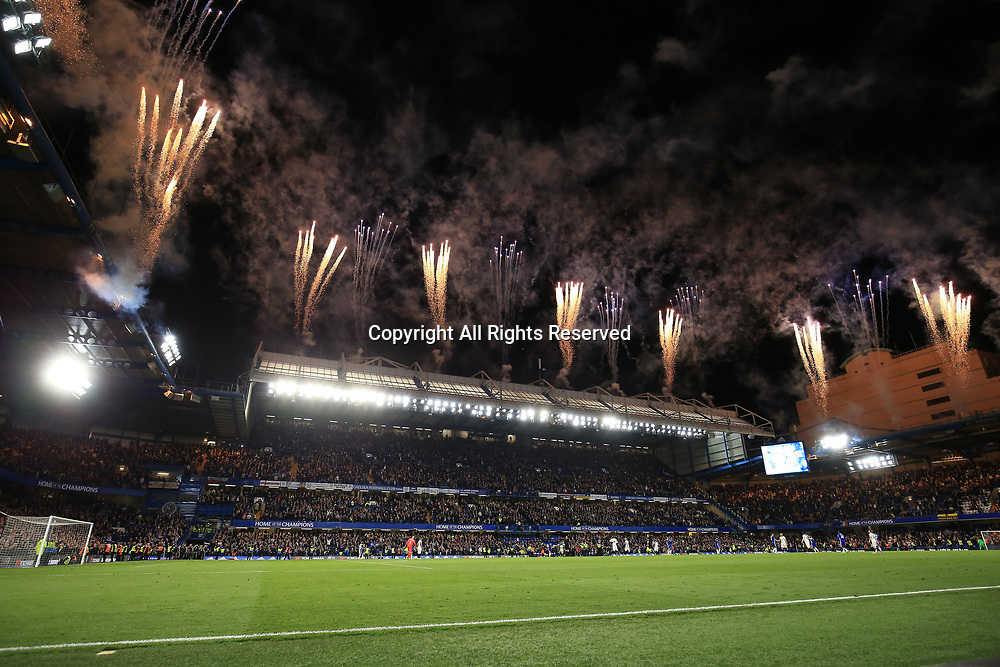 May 15th 2017, Stamford Bridge, London, England; EPL Premier League football, Chelsea FC versus Watford; Fireworks go off after full time as Chelsea take a 4-3 win
