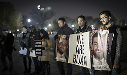 """November 17, 2018 - Washington Dc, DC, US - After a year again people, friends, and BijanÃ•s family gathered in Lincoln Memorial Park for saying that again Ã'Justice for Bijan.Ã"""".Bijan was shot on Nov 17, 2017, four times in the head and once in the wrist by two aggressive United States Park Police officers. In Fairfax, Virginia. They stated that those officers had not been identified. Their actions have not been explained, and they have not been charged. Basic answers have not been provided by anyone involved, and justice has not been served. .In this protest, hundreds of people were involved. (Credit Image: © Ardavan Roozbeh/ZUMA Wire)"""