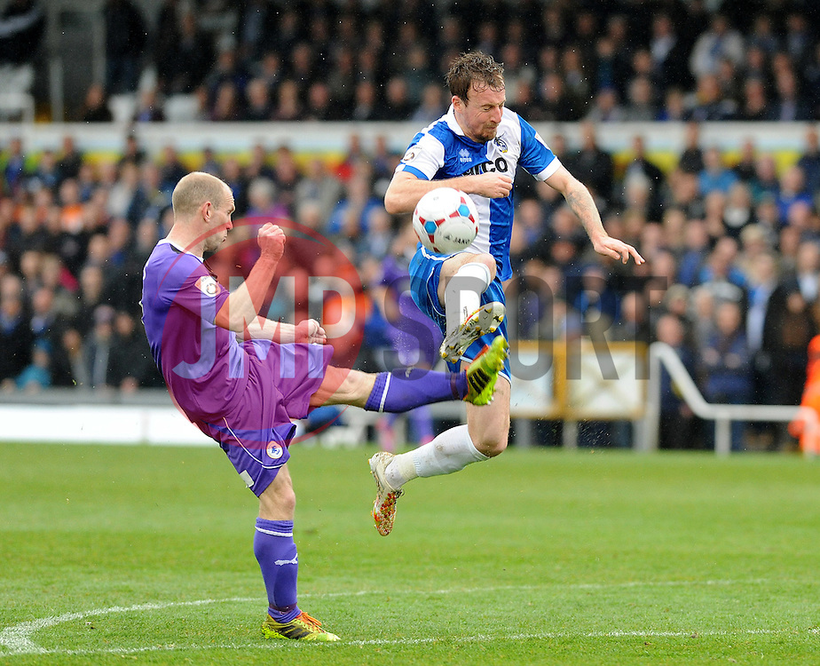 Bristol Rovers' Chris Lines is challenged by Chester's Gareth Roberts - Photo mandatory by-line: Neil Brookman/JMP - Mobile: 07966 386802 - 03/04/2015 - SPORT - Football - Bristol - Memorial Stadium - Bristol Rovers v Chester - Vanarama Football Conference