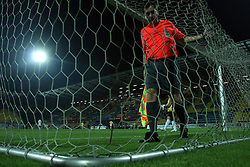 Referee checking the net at 2nd football match of 1st Qualifying Round for UEFA Cup between NK Interblock (Ljubljana) vs FC Zeta (Golubovci), on July 31, 2008, in Arena Petrol, Celje, Slovenia. Domzale won 1: 0 and advanced to second round. (Photo by Vid Ponikvar / Sportal Images)