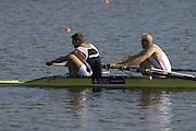 Hazenwinkel, BELGIUM,  Men's Pair, [ M2-],  Bow: Alex PARTRIDGE and Tom SOLESBURY, in the last strokes of the morning time trial, at the GB Rowing Senior Trials, on Sun,15.04.2007  [Credit, Peter Spurrier/Intersport-images]   [Mandatory Credit, Peter Spurier/ Intersport Images]. , Rowing Course, Bloso, Hazewinkel. BELGUIM