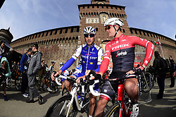 March 18, 2017 - San Remo, Italie - SANREMO, ITALY - MARCH 18 : BOONEN Tom (BEL) Rider of Quick-Step Floors Cycling team and STUYVEN Jasper (BEL) Rider of Trek - Segafredo pictured during the UCI WorldTour 108th Milan - Sanremo cycling race with start in Milan and finish at the Via Roma in Sanremo on March 18, 2017 in Sanremo, Italy, 18/03/2017  (Credit Image: © Panoramic via ZUMA Press)