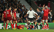 Fiji thinking they had scored their first try only for it to be disallowed during the Rugby World Cup Pool A match between England and Fiji at Twickenham, Richmond, United Kingdom on 18 September 2015. Photo by Matthew Redman.