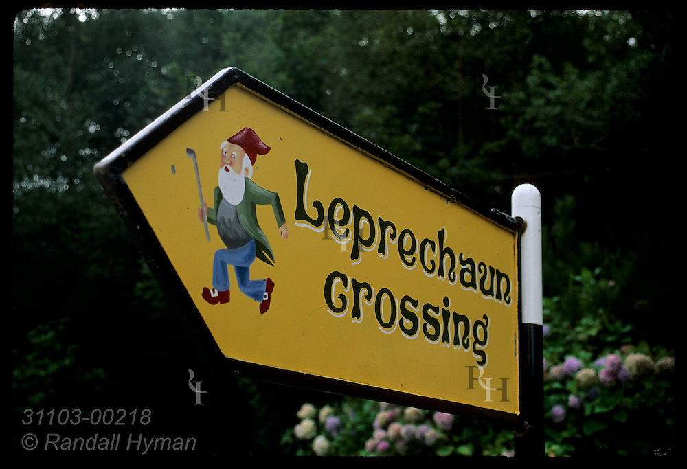 Leprechaun Crossing sign at Ladies' View in Killarney National Park, Ireland.