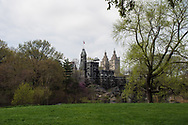 Belvedere Castle in Central Park with  a view of the San Remo apartment towers