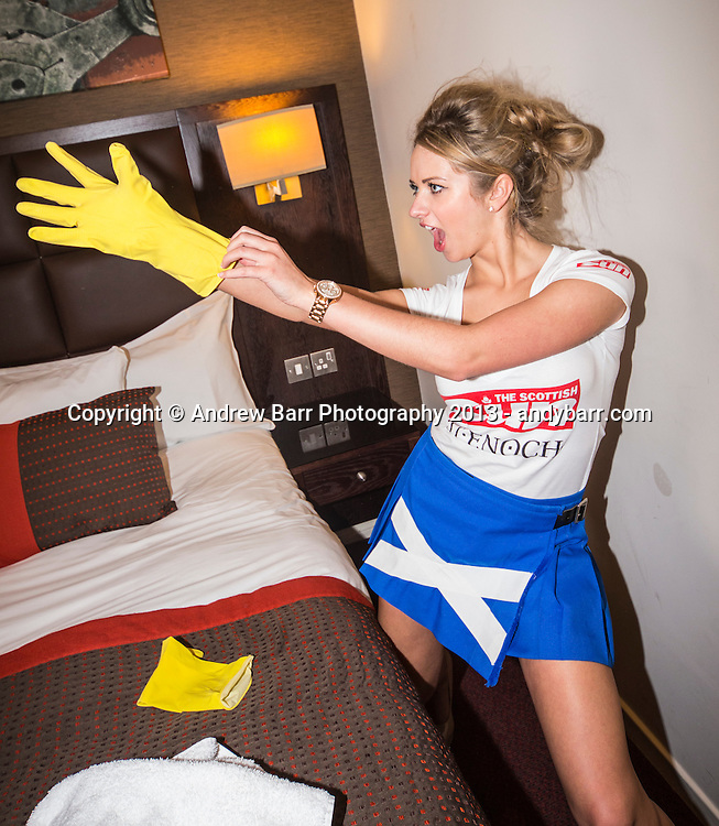 02:05:2013..Miss Scotland 2013 - chambermaid challenge at Grand Central Hotel...Rubber gloves with Monica...Pic:Andy Barr..07974 923919  (mobile).andy_snap@mac.com..All pictures copyright Andrew Barr Photography. ..Please contact before any syndication. .